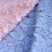 New Rosa/hellblau/off white chiffon pailletten spitze stoff 130 cm breite 1 yard