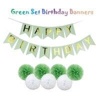 Зеленый комплект Для летних вечеринок декоративные ремесла душа ребенка висит с днем рождения баннеры дети события украшения ткани Бумага ...