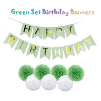 Green Set Summer Party Decorative Crafts Baby Shower Hanging Happy Birthday Banners Kids Event Decoration Tissue