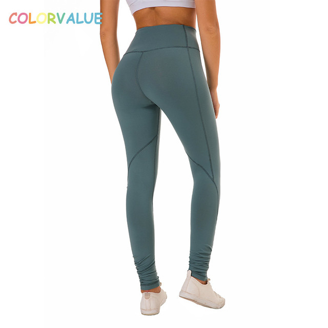 0a723793c1e005 Colovalue High Waist Squatproof Fitness Workout Leggings Women Solid  Stretchy Nylon Sport Gym Tights Plus Size