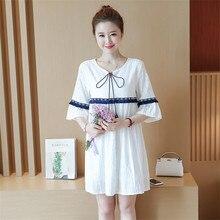 9dac7099a17aa 2018 Kore Stil Yaz Moda Üç Çeyrek Flare Kol Pamuk Hattı Gebelik Kadın  Elbise Analık Sevimli Mini Marka Elbiseler