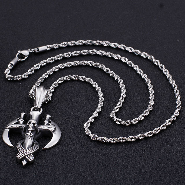 STAINLESS STEEL SICKLE SKULL NECKLACE