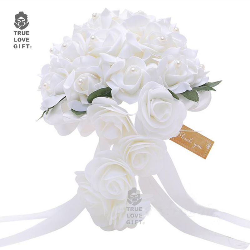 2019 Artificial Foam Flowers Waterfall White Wedding Flower Bridal Bouquets Pearls Roses For Wedding Arrangement Bridal Bouquet