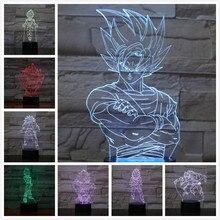 Dragon Ball Figure Atmosphere table lamp Lampara Super Saiyan God Goku Usb 3d led nightlight bedside Touch Sensor Lighting Lamp