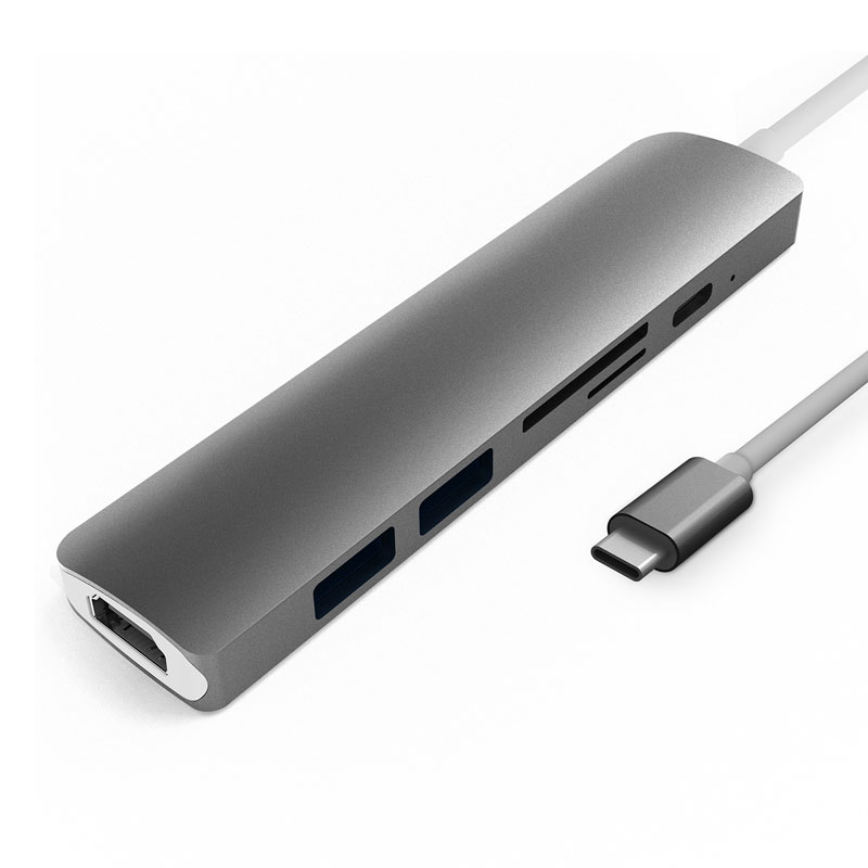 6-in-1 Thunderbolt 3 USB Type C Hub to HDMI Adapter with Type-C Power Delivery SD/TF Reader Slot for MacBook Pro USB-C Dock