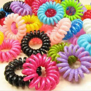 1 pc fio de telefone cabelo colorido anel linha invisi elástico traceless goma cabo corda de cabelo para cabelo menina scrunchy