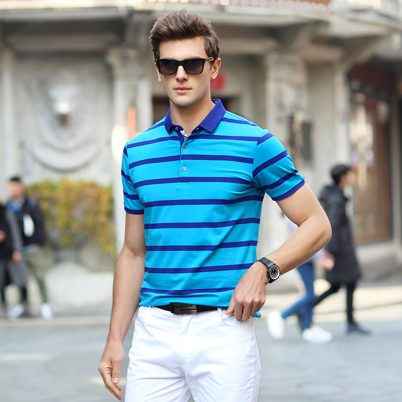 AIRGRACIAS 2017 Summer Men Poloshirts Cotton Striped Blue/Greeb/Orange Brand Clothing Fashion Mens Short Sleeve Slim Tops