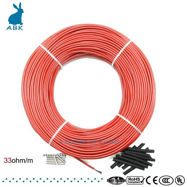 100 м инфракрасное углеродное волокно нагрева провода кабель системы 12 к 33ohm Европейский Отопление оборудования безопасно и безвкусно