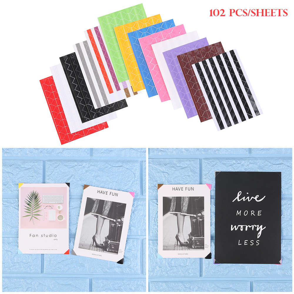 102Pcs/sheet DIY Colorful Picture Frame Stickers Scrapbook Self Adhesive Paper Photo Corner Protector Home Decorations