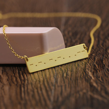 Golden Customized Message Charm Necklace Solid Engraved Morse Code Pendent Horizontal Jewelry Personalized