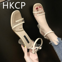 HKCP 2019 New Rough-heeled Sandals Daughters Summer Fairy Wind with a Word of Buckles Sets High-heeled Shoes C141