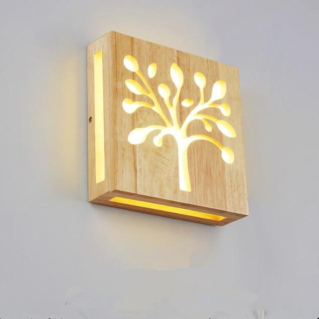 Modern Wall Lamp Trees Acrylic Wood light Indoor lighting LED Night ...
