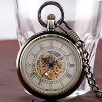 Automatic Mechanical Pocket Watch Vintage Bronze Open Face Roman Numerals Clock Time With 30cm Chain Women