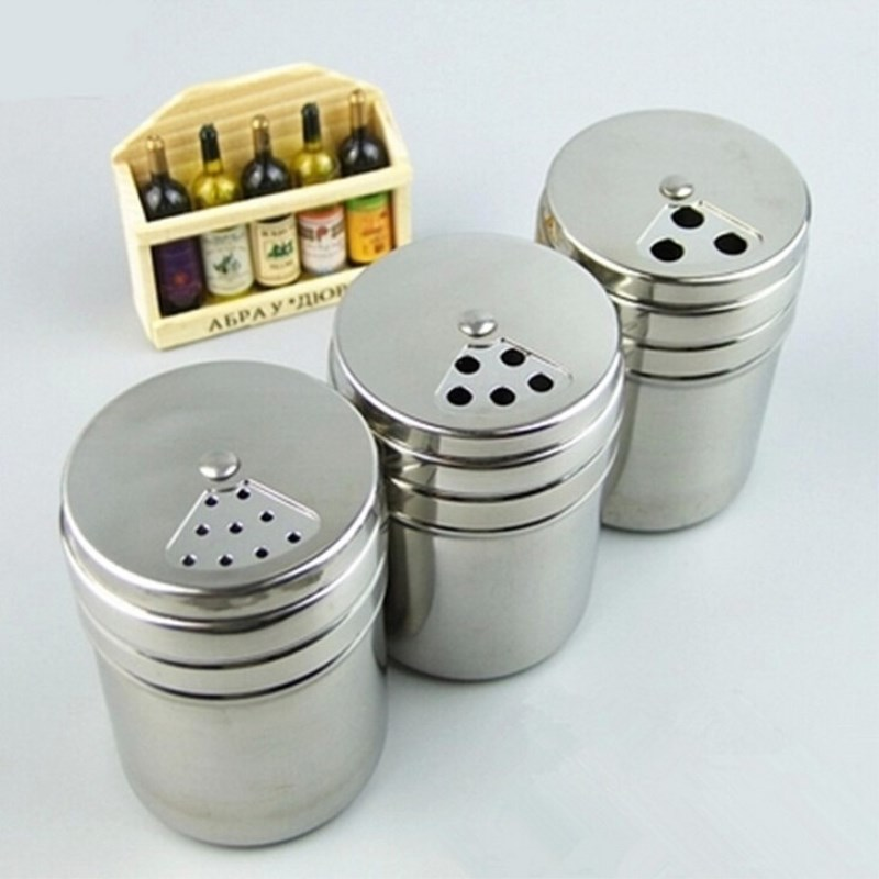 1PCS Durable Stainless Steel Powder Shaker Flour Salt Suger Storage Box Spices Cocoa Powder Shaker Coffee Cooking Tool