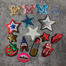 JOD 15PCS Mixed Star Lips Embroidery Patch Sequin Applique for Clothes Stickers Fabric Badge Iron on Patches for Clothing DIY jod 10 4cm 67 wing diy iron on decorative biker patches for clothes applications embroidery patch applique stickers badge fabric