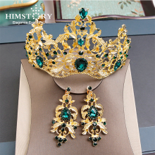 Himstory Baroque Magnificent Crystal Bridal Green/Red Crown Vintage Retro Gold Vetiver Irises Quinceanera Pageant Tiaras