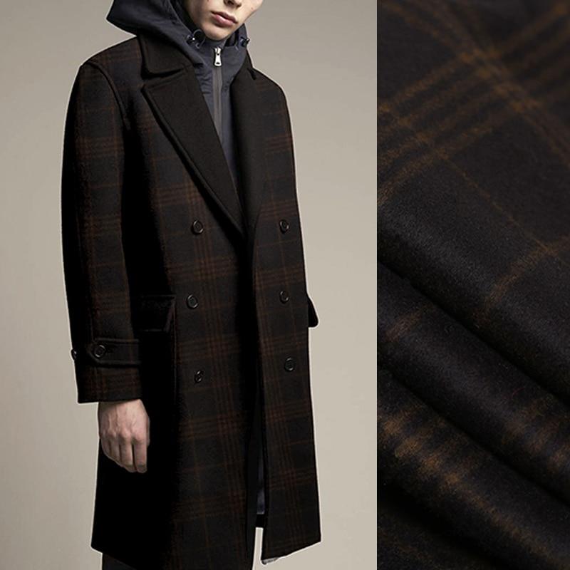 145 см в ширину 780 г/м Двусторонняя клетчатая Толстая черная коричневая кашемировая шерстяная ткань для осенне зимнего платья Верхняя одежда