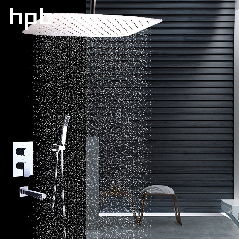 HPB 12 inch Square Rainfall Stainless Steel Shower Head System Bath Shower Faucets Sets Wall Mounted Chrome Finished HP2205a&c quyanre concealed rainfall shower head system chrome bath