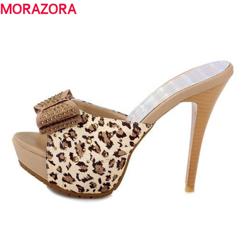 MORAZORA Women sandals fashion high heels shoes sexy Leopard platform shoes causal slippers Hot sale EUR size 34-39 coolcept women high heel sandals platform fashion lady dress sexy slippers heels shoes footwear p3795 eur size 34 43