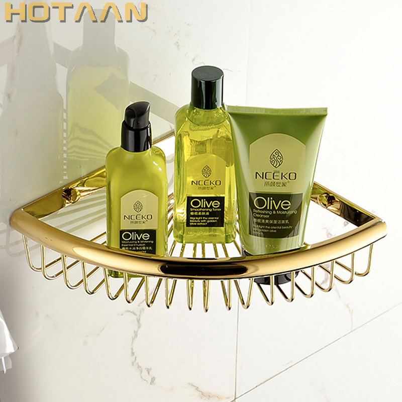 Free Shipping Wall Mounted Antique brass solid brass Bathroom Shower shampoo Shelf bathroom corner Basket Holder single Layer single tier wall mounted black finish carving brass bathroom shower shampoo shelf basket holder i633