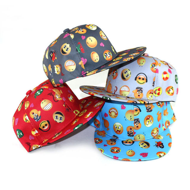 b9c6bc373f16 € 1.83 7% de DESCUENTO Nueva moda niños emoji impresión SnapBack gorra de  béisbol niño niña sombrero ajustable elegante niños lindo Gorras de ...