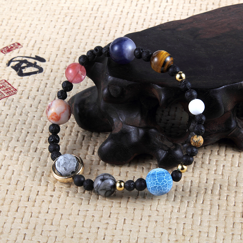 Galaxies Nine Planets Natural Stones Bracelets Elastic Hand Strings Energy Stone Male Or