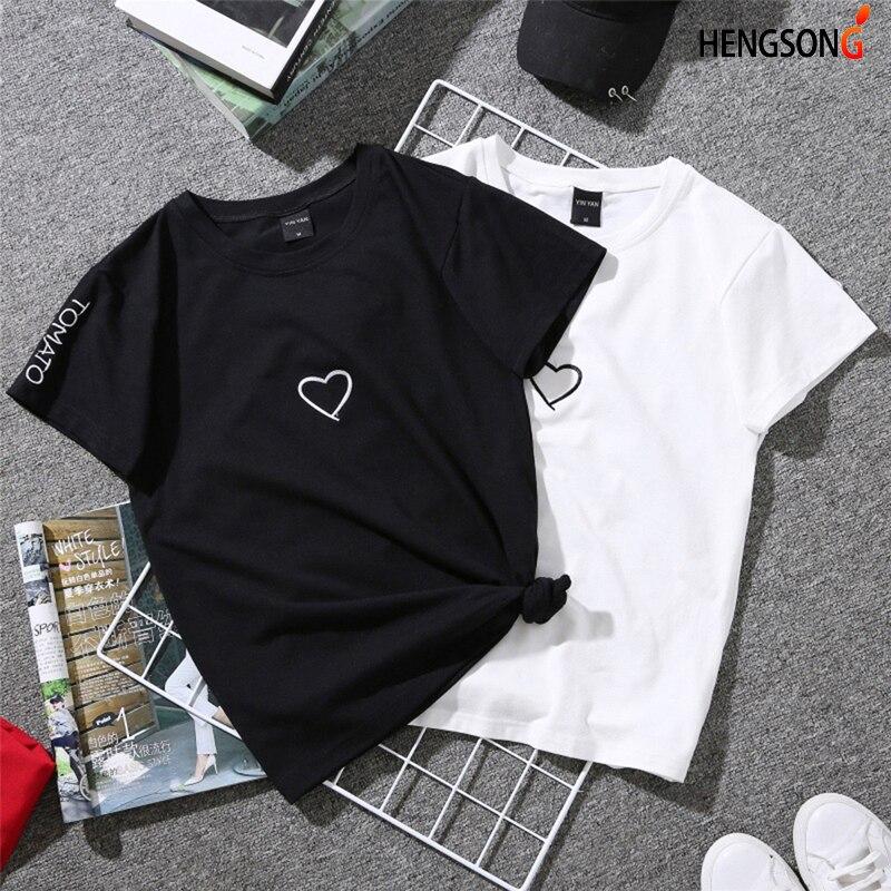 2018 Summer Couples Lovers T-Shirt For Women Casual White Tops Tshirt Women T Shirt Love Heart Embroidery Print T-Shirt Female