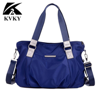 KVKY High Quality Zipper Solid Waterproof Bag Nylon Handbags Women Crossbody Casual Bucket Tote Shoulder Woman