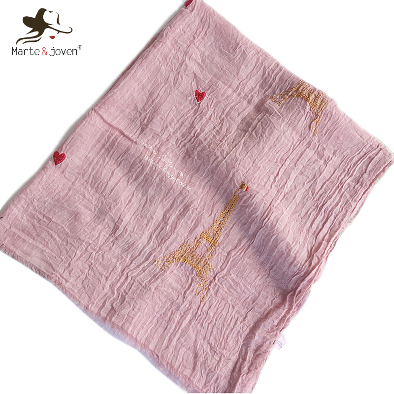 Apparel Accessories Marte&joven Fashion Eiffel Tower Embroidery Women Pink Wrinkle Scarves Tippet Elegant Ladies Warm Fringe Shawls Pashmina Bufanda Selling Well All Over The World