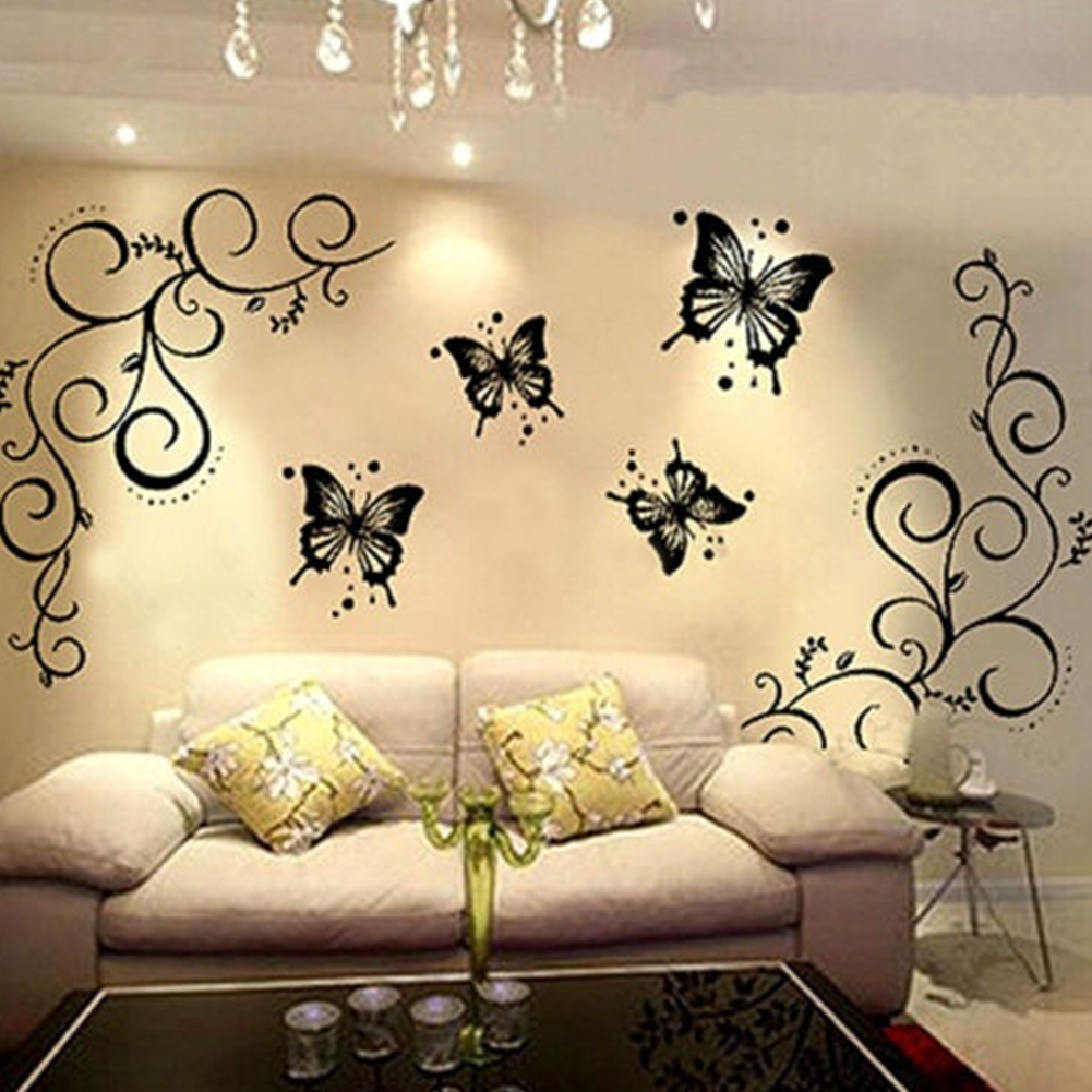 Black Butterfly Flower rattan DIY Removable Wall Stickers Living ...