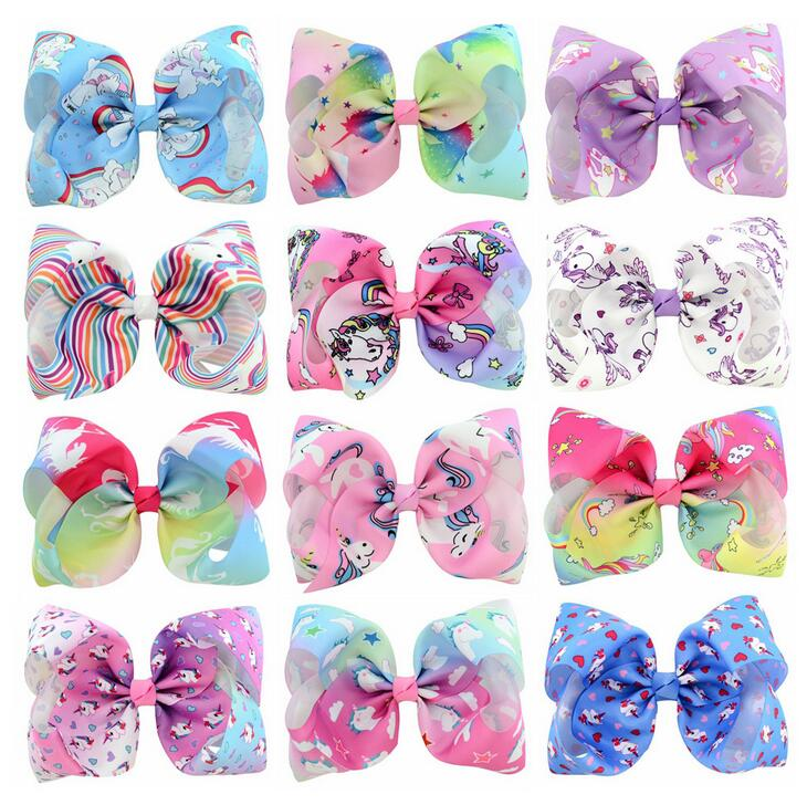 100pcs Free Shipping Handmade Unicorn Hair Bows With Clips Women Girls Hair Accessories 2019 Official