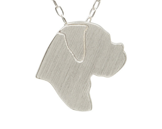 Boxer necklace, Boxer charm, Boxer jewelry, Boxer silhouette - Solid and silver dog necklace, dog charm pet memorial gift