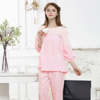 Fresh pajamas set, princess style, multi-color optional, ruffled edges and lace, very good material, comfortable soft and lovely
