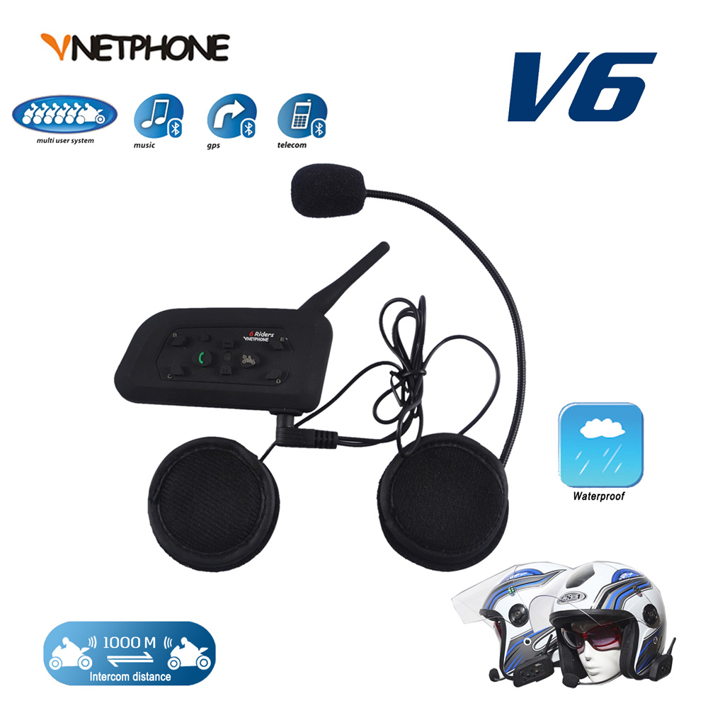 ФОТО VNETPHONE 1200M 6 Riders Bluetooth Motorcycle Helmet Full Duplex Wireless Bluetooth Interphone BT Intercom Headset