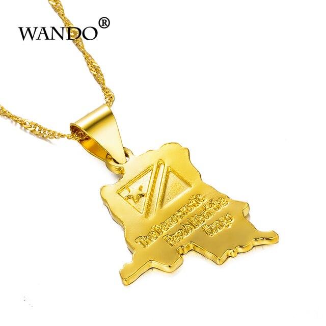 Фото wando трендовое ожерелье с маленькой картой из конго золотого