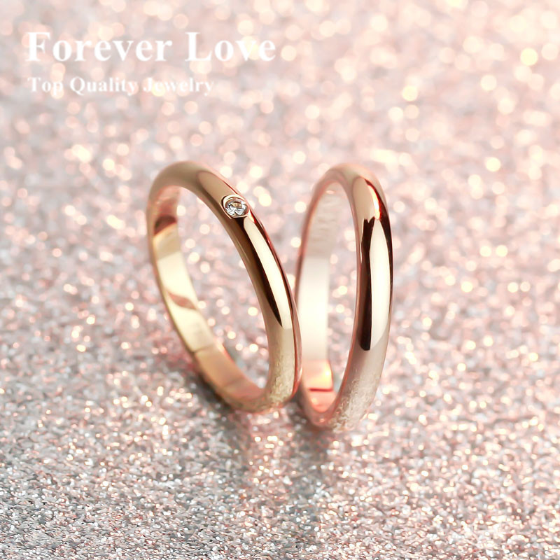 Yun Ruo Crystal Drill Wedding Ring 2015 New Design Titanium Steel