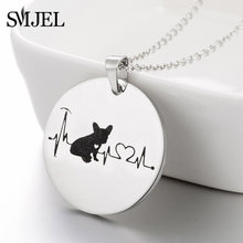 SMJEL Animal French Bulldog Necklaces for Women Collier Round Charm Necklace Dog Lover Jewelry Gifts bijoux 2019 New(China)