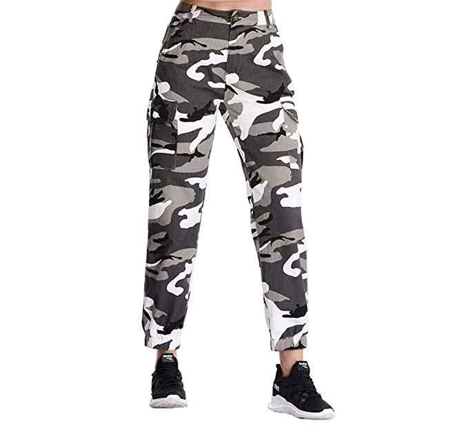 4b3b7bdfeba73 Summer Women's Camo Cargo Trousers Pants Casual Pants Military Style Army  Combat Camouflage Jeans Pencil Pants Orange Pink Grey