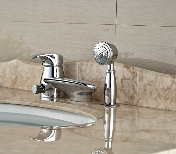 Vessel Sink Faucet 3pcs Bathroom Faucet Deck Mounted Shape Tap Hot&Cold Faucet deck mounted bathroom sink faucet cold