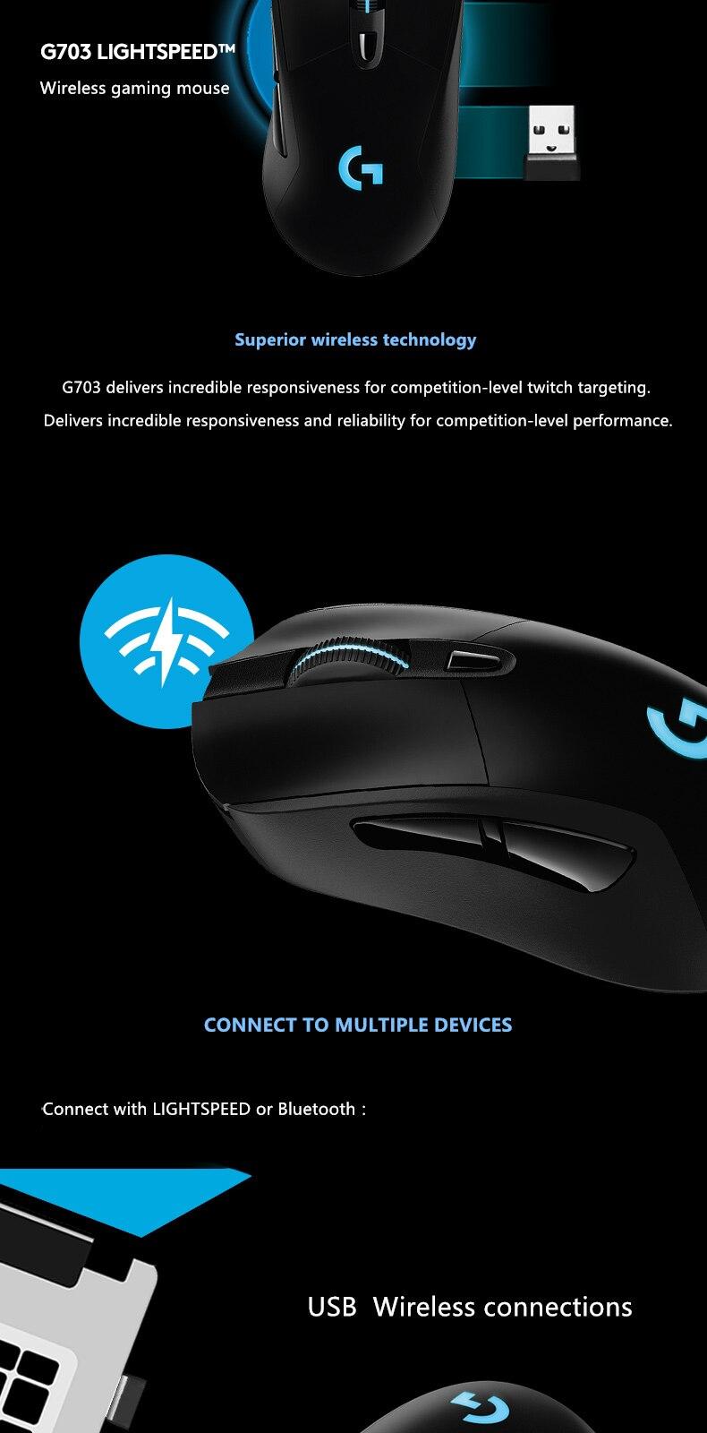 Logitech g703 lightspeed mouse de jogos sem fio