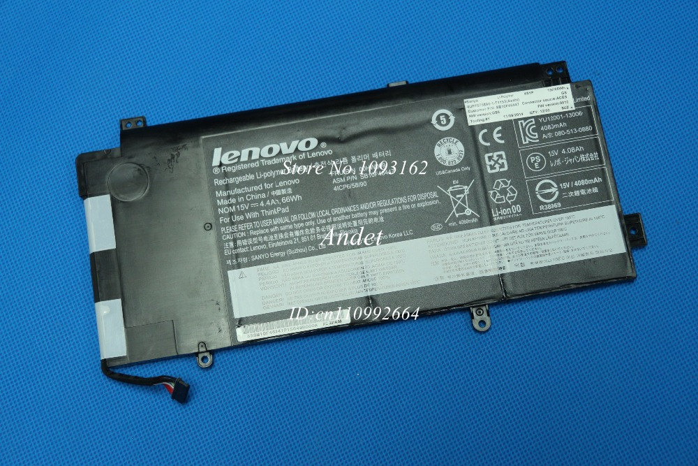 New Original Genuine Batteries for Lenovo ThinkPad Yoga 15 00HW009 SB10F46447 41CP6/58/90 4.4Ah 15V 66Wh 4080mAh original new 45n1097 battery for lenovo thinkpad tablet 2 batteria batteries 3 7v 8 12ah 30wh page 1