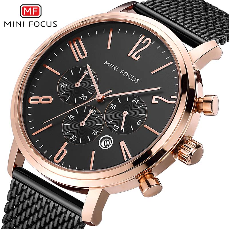 MINIFOCUS Chronograph Men's Quartz watch Stainless steel Mesh Band Watch Casual Men Multi function Sports Watches montre