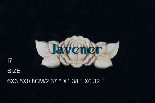 I7 -6x3.5x0.8cm Wood Carved Long Onlay Applique Unpainted Frame Door Decal Working Carpenter Flower Rose