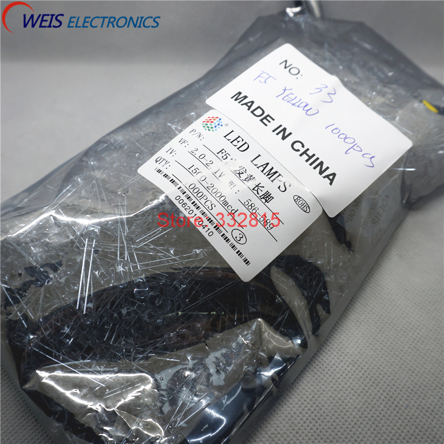 Round Water Clear Long Legs 3.0-3.2v 586-589nm 1500-2000mcd Light Emitting Diode Lamp Drip-Dry Considerate 1000pcs F5 Yellow Led Dip-2 5mm
