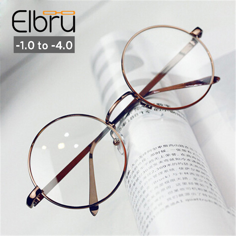 Elbru -1 -1.5 -2.0 -2.5 -3 -3.5 -4 Myopia Optical Glasses Metal Round Frame For Men Women Radiation-proof Computer Myopic Glass