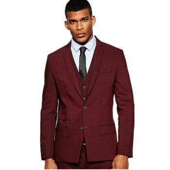 2019 Burgundy suit 3 Pieces Mens Suits Slim Fit Wedding Suits Groom Tuxedos for Wedding (Jacket Pants Vest) custom made