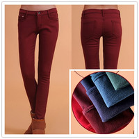 2014 New Women S Autumn Winter Fashion Candy Color Fleece Upset Pants Women Elastic Slim Velvet