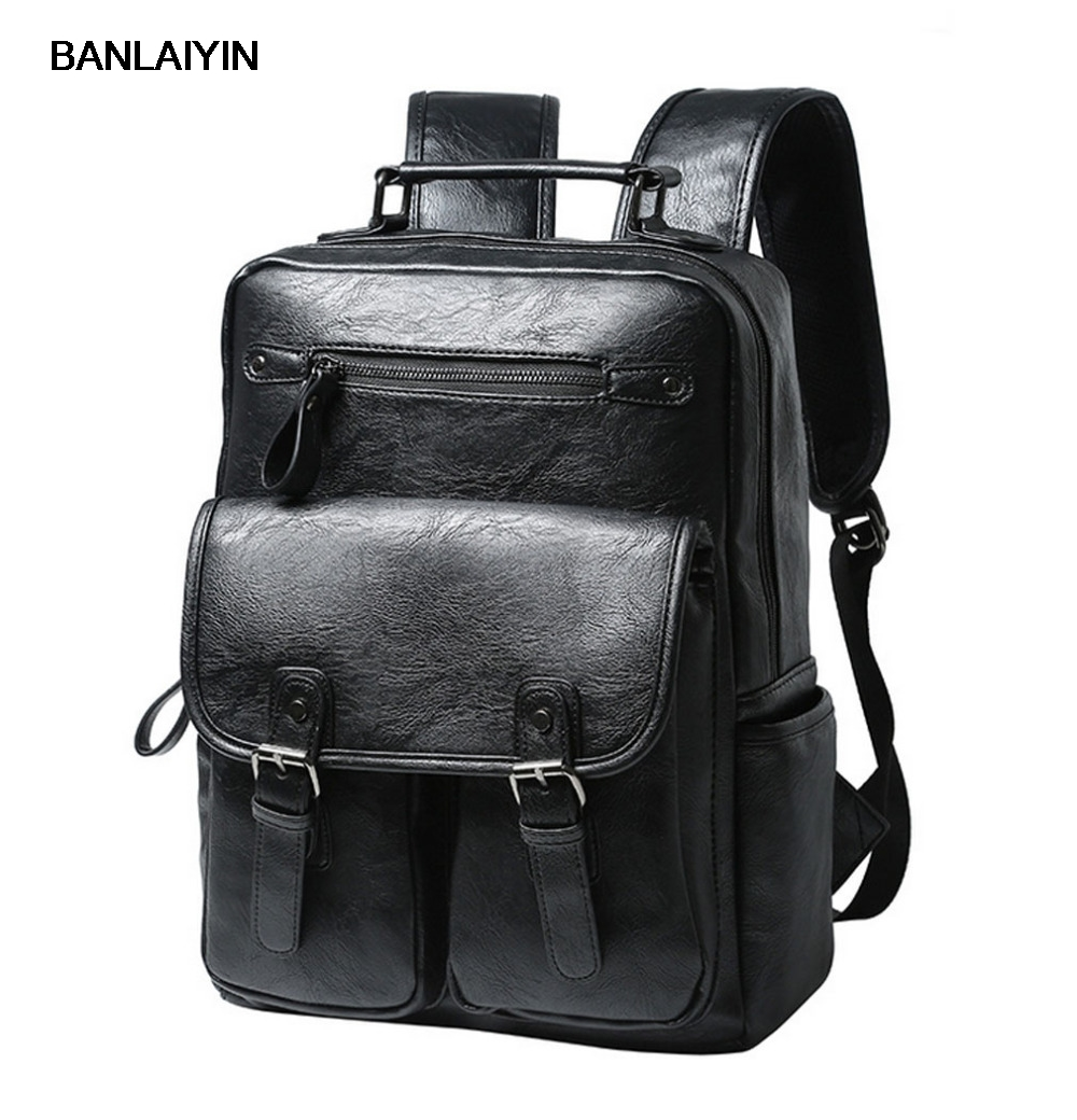 Mens PU Leather Top Quality Fashion Casual Computer Shoulder Bag Back Pack Clutch Bag Backpack Student Package Travel Package