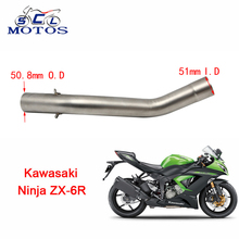 Sclmotos -ZX6R Modified Motorcycle Exhaust Stainless Steel Muffler Middle Pipe for Kawasaki ZX-6R 2009-2014 without exhaust