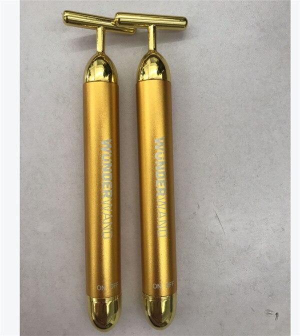 Ролик для похудения лица, 24 k, золотой цвет, вибрационный лицевой валик для красоты, массажер, палочка, подтяжка кожи, подтяжка морщин, бар, новинка - Цвет: NF0449A01-one
